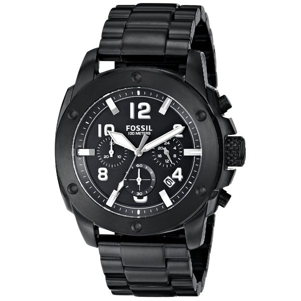 Fossil Men's Modern Machine FS4927 Black Stainless-Steel Quartz Watch with Black Dial