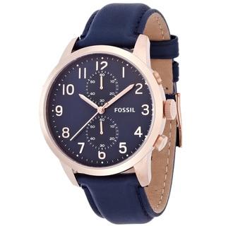Fossil Men's Townsman FS4933 Blue Leather Quartz Watch with Blue Dial