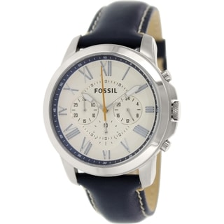 Fossil Men's Grant FS4925 Blue Leather Quartz Watch with White Dial