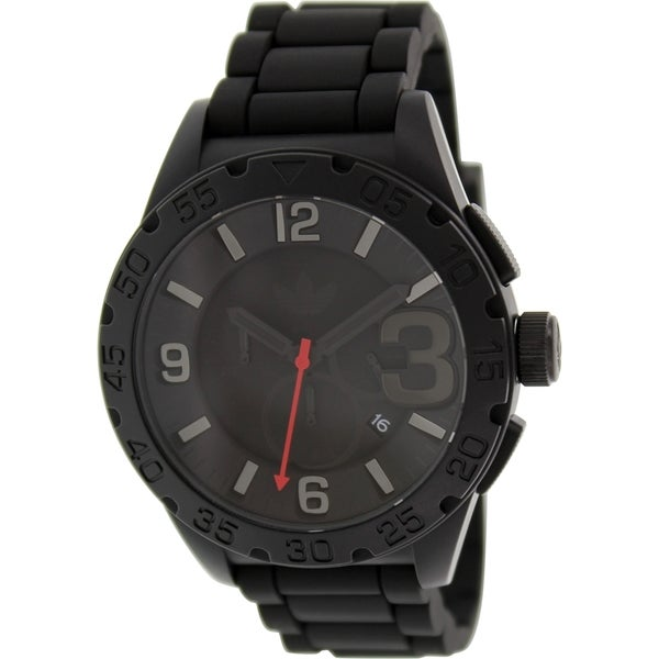 Adidas Men's Newburgh ADH2955 Black Silicone Quartz Watch with Black Dial