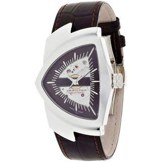 Hamilton Men's H24515591 Ventura Brown Leather Skeleton Watch