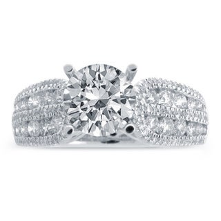 14k White Gold 1 4/5ct TDW Round Center Diamond Engagement Ring (G-H, SI1-SI2)