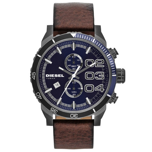 Diesel Men's DZ4312 Double Down Brown Leather Watch