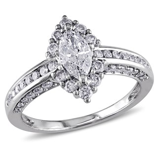 Miadora 14k White Gold 1 1/4ct TDW Marquise Diamond Ring (G-H, I1-I2)