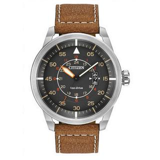 Citizen Men's AW1361-10H Eco-Drive Brown Leather Strap Watch