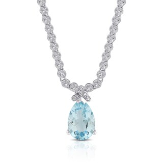 Dolce Giavonna Sterling Silver Blue Topaz and Diamond Accent Teardrop Necklace