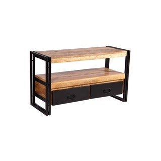 Reclaimed Wood TV Cabinet with Black Metal Drawers (India)