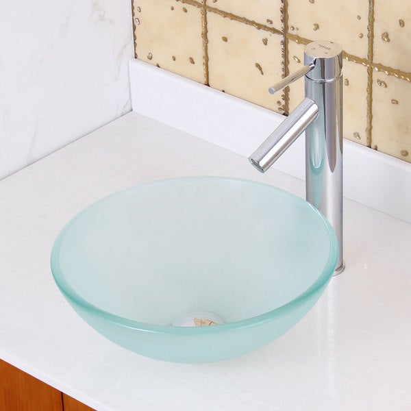 Small Vessel Sinks For Small Bathrooms : Elite GD08S/ 2659 Small Frosted Tempered Glass Bathroom Vessel Sink ...