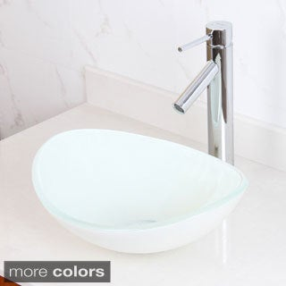 Elite 1420/ 2659 White Oval Tempered Glass Bathroom Vessel Sink with Faucet Combo