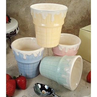 D'Lusso Designs Four Piece Multi Color Ceramic Ice Cream Cups Set