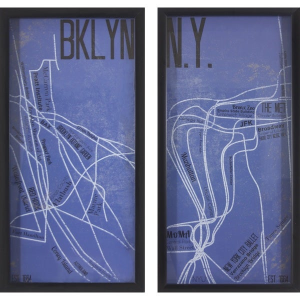 NY and Brooklyn Maps (Set of 2)