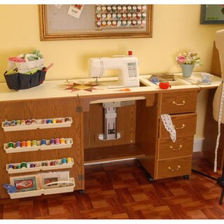 Arrow 'Norma Jean' Crafts & Sewing Machine Table with Storage and Organization Cabinet
