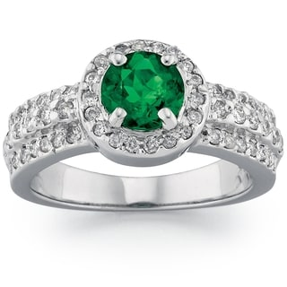 18k White Gold Emerald and 2/5ct TDW Diamond Ring (G-H, SI1-SI2)
