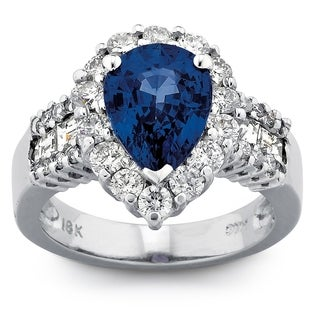 18k White Gold Sapphire and 1 2/5ct TDW Diamond Ring (G-H, SI1-SI2)