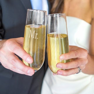 Mr. and Mrs. Stemless Champagne Toasting Flutes