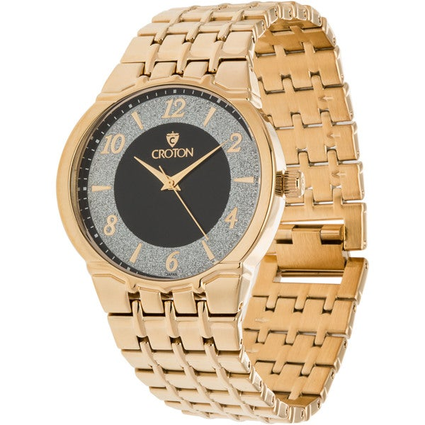 Croton Men's 'Star Glitz' Diamond Dust Two-tone Brass Dress Watch