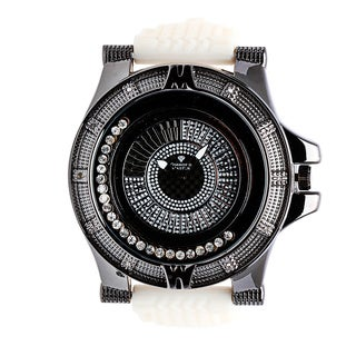 Diamond Master Men's Black and White Leather Quartz Watch