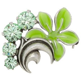 Antiqued Silvertone Green Crystal Floral Filigree Brooch
