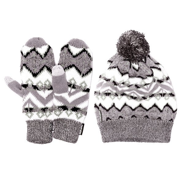 Muk Luks Geotribal Slouch Beanie and Mittens Set