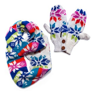 Muk Luks Colorful Snowflake Eternity Scarf and Mittens Set