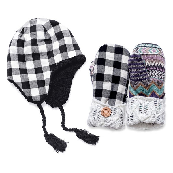 Muk Luks Plaid Festival Hat and Mitten Set