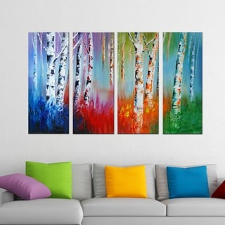 Forest 'Colors Come Alive' 4-piece Hand-painted Oil on Canvas