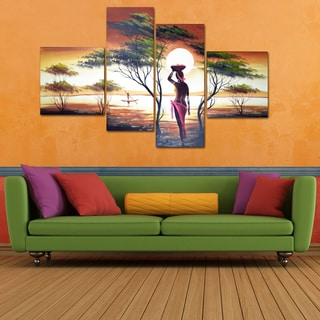 African Sunset' 4-piece Hand-painted Canvas Oil Painting