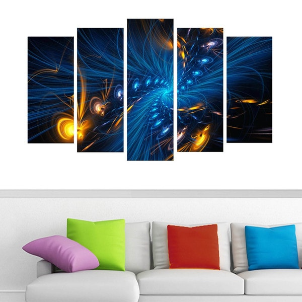 Blue and Orange 'Illumination' 4-piece Gallery-wrapped Canvas