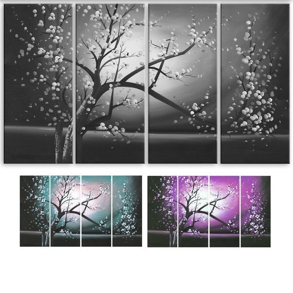Blossoming in the Moonlight' 4-piece Wall Art Canvas