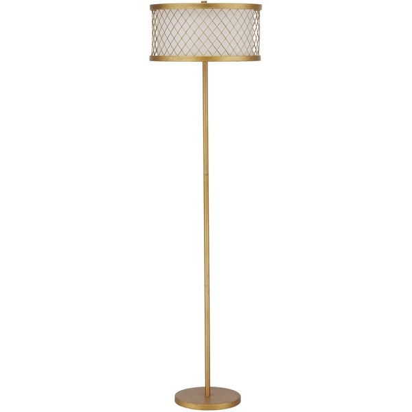 Safavieh lighting 5825 inch 2 light evie mesh gold floor for Gold mesh floor lamp