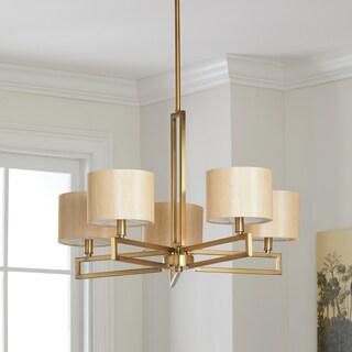 "Safavieh Lighting 25-inch Adjustable 5-Light Catena Gold Chandelier - 25""x25""x17.5 - 53.5"""