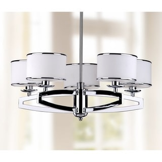 Safavieh Indoor 5-light Lenora Chrome Drum Pendant