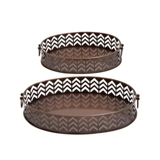 Brown Oval Metal Serving Trays (Set of 2)