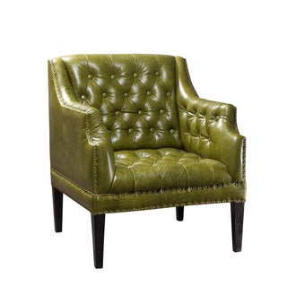 Kamille Green Button-tufted Leather Chair (India)