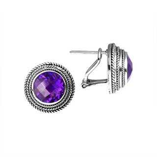 Handmade Bali Sterling Silver Round Faceted Amethyst Omega Clasp Earrings (Indonesia)