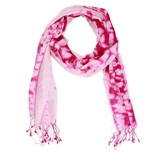 Saachi Women's Wool and Silk Blend Tie Dye Splatter Scarf (India)
