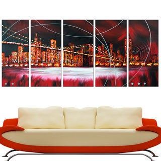 Red Light Cityscape' 5-piece Hand-painted Oil on Canvas