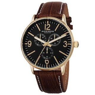Akribos XXIV Men's Quartz Multifunction Genuine Leather Strap Watch
