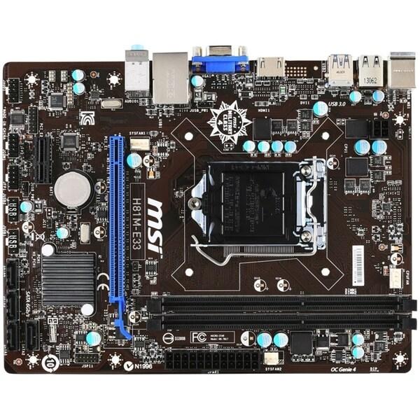 MSI H81M-E33 Desktop Motherboard - Intel H81 Chipset - Socket H3 LGA-