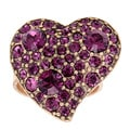 Goldtone Large Heart with Purple Crystal Pave Cocktail Ring
