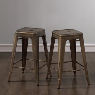 Tabouret 24-inch Weathered Broze Counter Stool (Set of 2)
