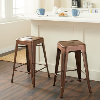 Tabouret Wood Seat Brushed Copper Bistro Counter Stools