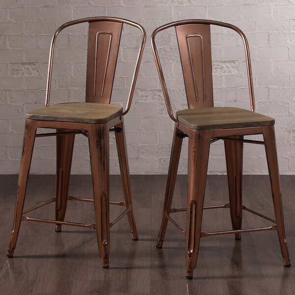 Copper Set Of 4 Metal Wood Counter Stool Kitchen Dining: Counter Chairs Bistro Set Rustic Copper Industrial Kitchen