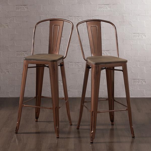 Tabouret Wood Seat Brushed Copper Bistro Bar Stool Set Of 2