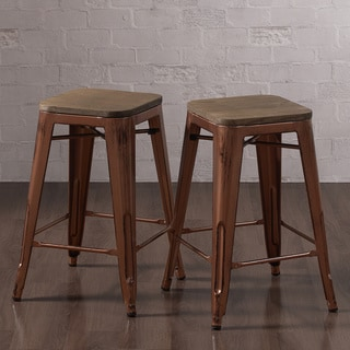 Tabouret Brushed Copper Counter Stool with Wood Seat (Set of 2)