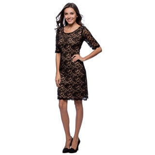 Connected Apparel Elbow Length Sleeve Scoop Lace Dress