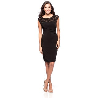 Connected Apparel Women's Side Lace Sleeveless Fitted Dress