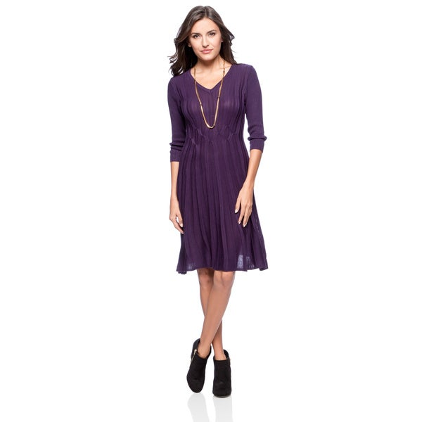 Connected Apparel Rib V-neck Sweater Dress