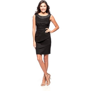 Connected Apparel Sleeveless Dress with Round Neckline with Attached Necklace and Tiered Skirt