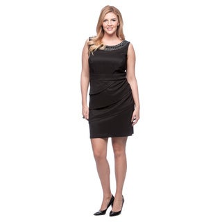 Connected Apparel Plus Size Round Neckline Sleeveless Dress with Attached Necklace and Tiered Skirt